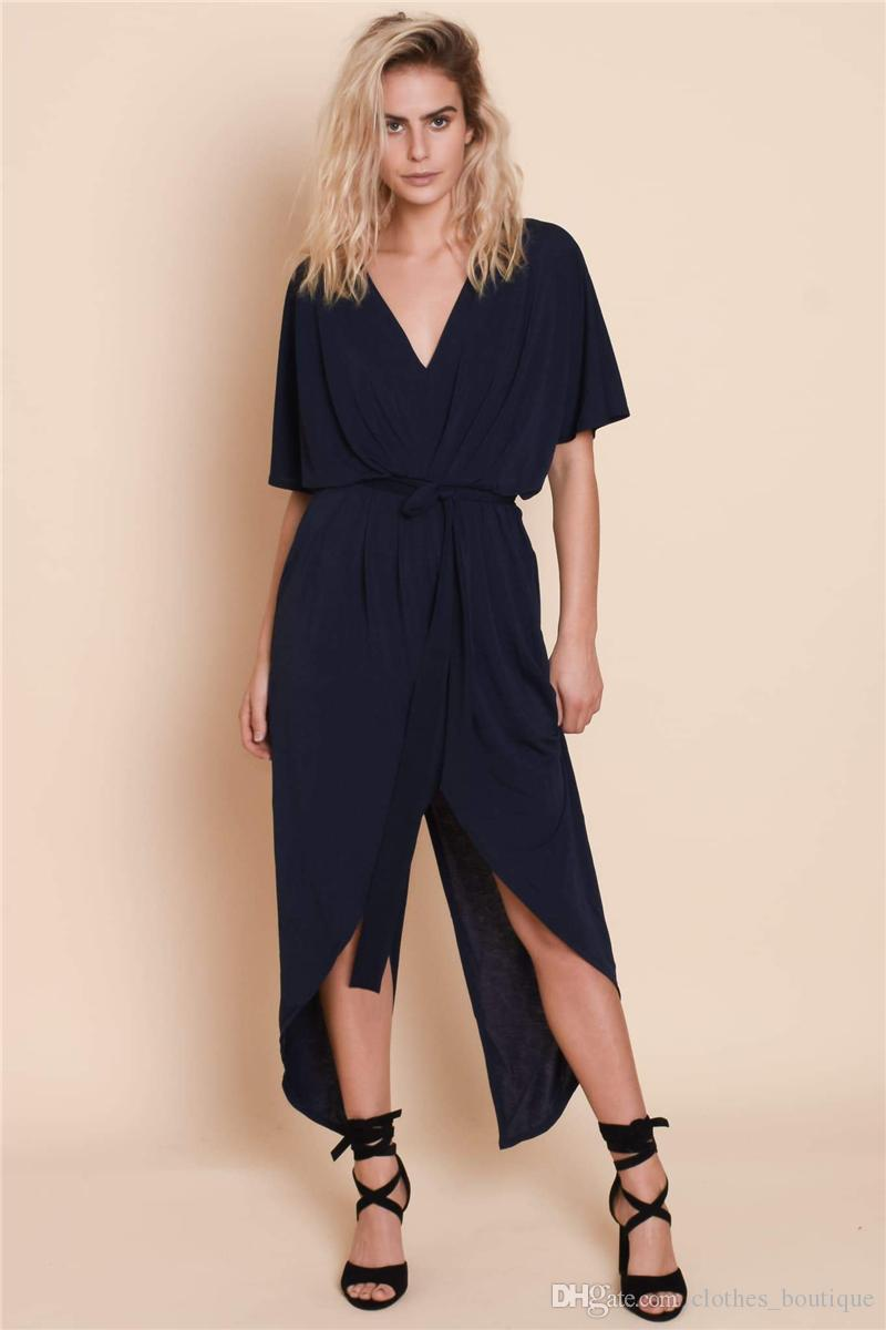 2019 femmes été col en V Split Up Flowy Party Maxi robe Casual Loose Dress Beach Cover Up Long Cami Maxi robes