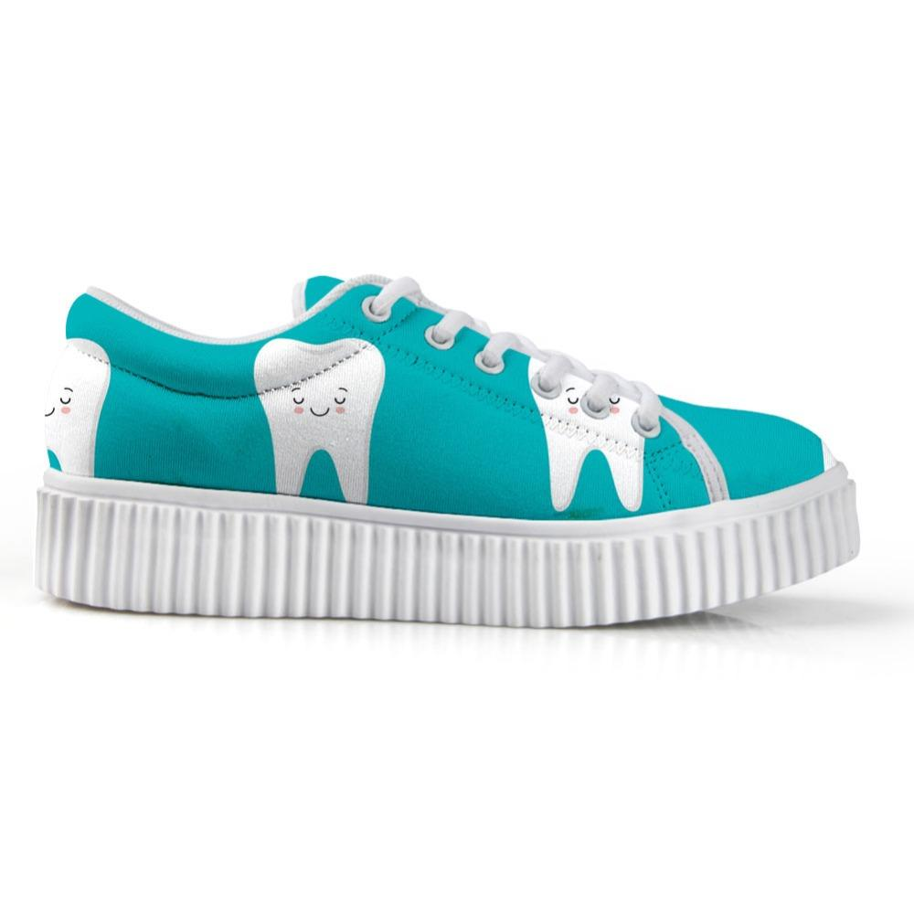 Fashion Tooth Pattern Donne Creepers Scarpe basse Scarpe casual da donna autunno-estate Scarpe da donna traspiranti