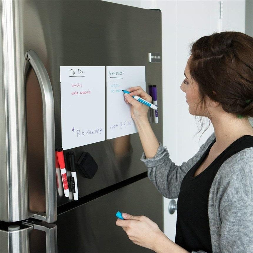 1Pc A5 Размер Магнитная доска Холодильник Магниты насухо протирают White Board Marker Сообщение Eraser Запись Запись Напомните Memo Pad Магнит на холодильник