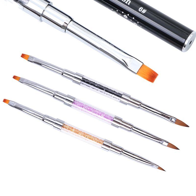 Dual-ended Acryl Kristall UV Gel Zeichnung Pinsel mit Kappe 19cm Strass Griff Maniküre Stift Nail Art Pinsel Werkzeuge