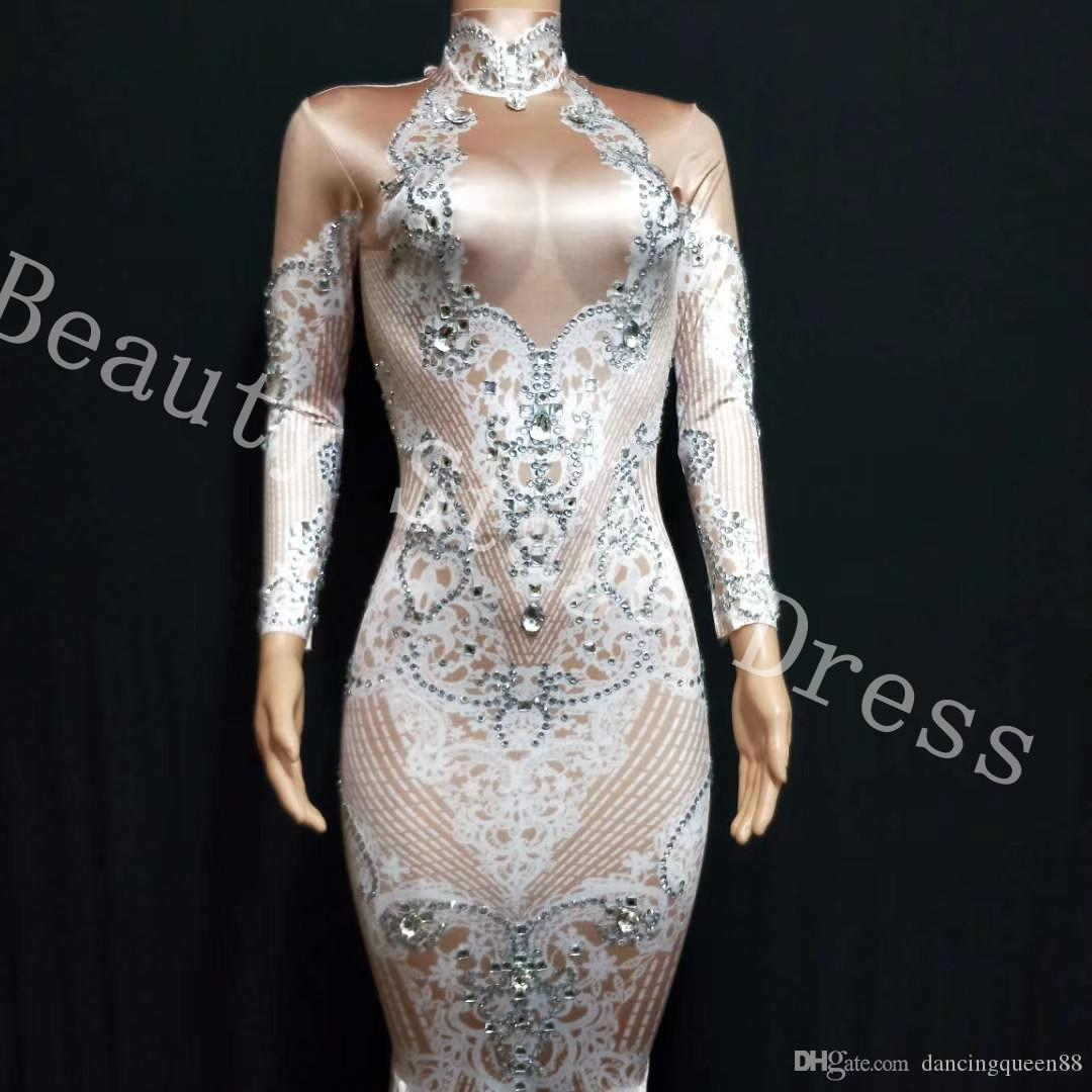Stretch Glisten Rhinestones White Or Red Printed Long Tail Dress Birthday Evening Party Outfit Nightclub Female Singer Show Sexy Dresses