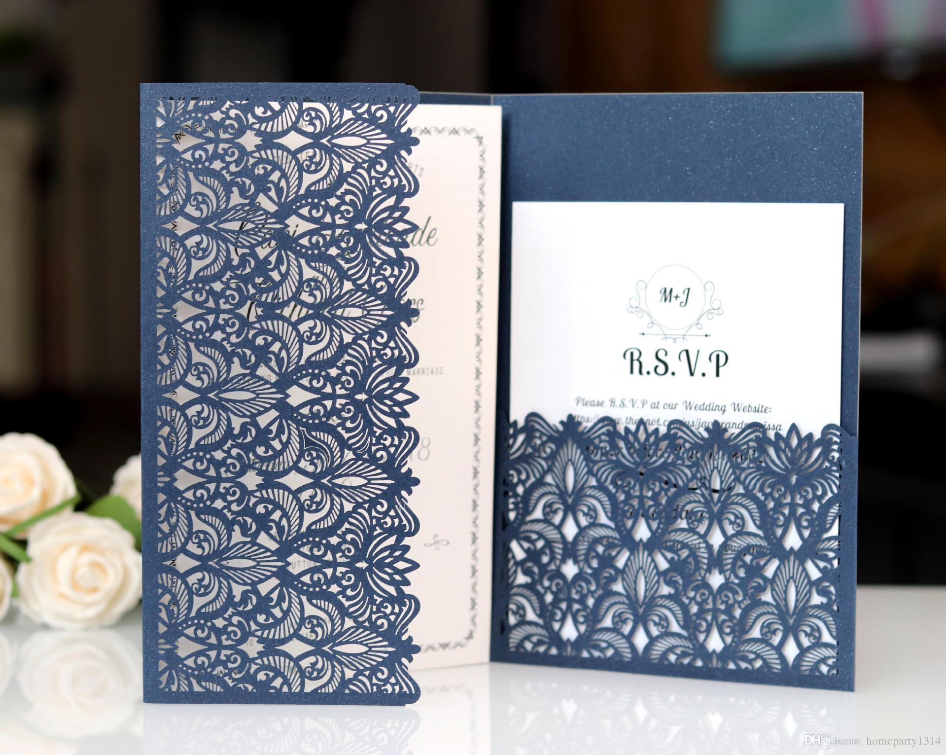 2019 ثلاثي أضعاف بطاقة دعوات الزفاف جيب مع rsvp الأعمال شكرا لك بطاقات الاجتماع المغلف فلورا ورقة الليزر قطع دعوة الحديثة