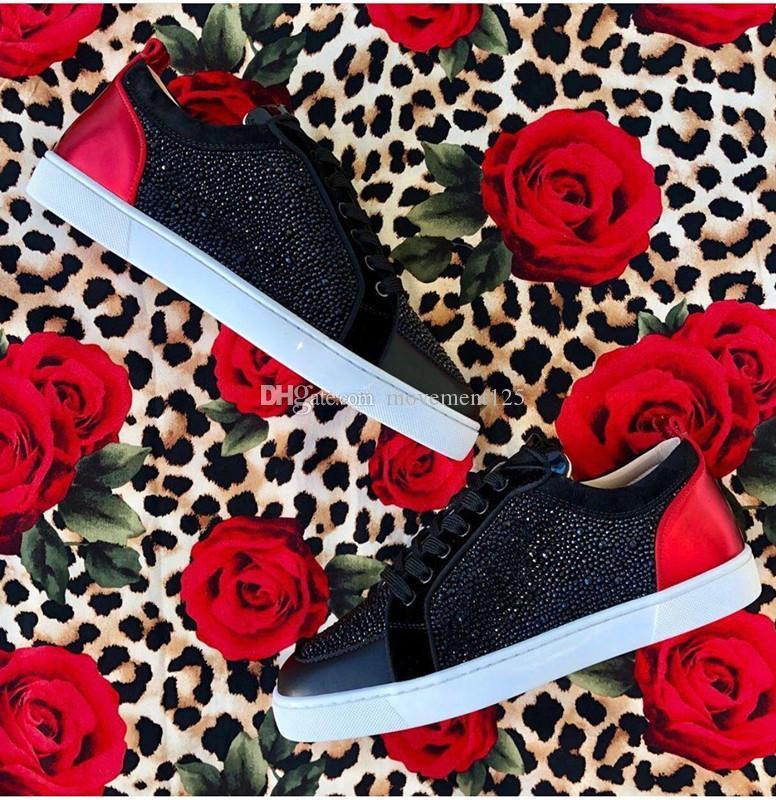 [Original Box, EU35-47] Herren Sneaker Schuhe High Top-rote Unterseite der Sternrhinestone-Frauen-beiläufige Designer Louisflat Gehen Großhandel fre