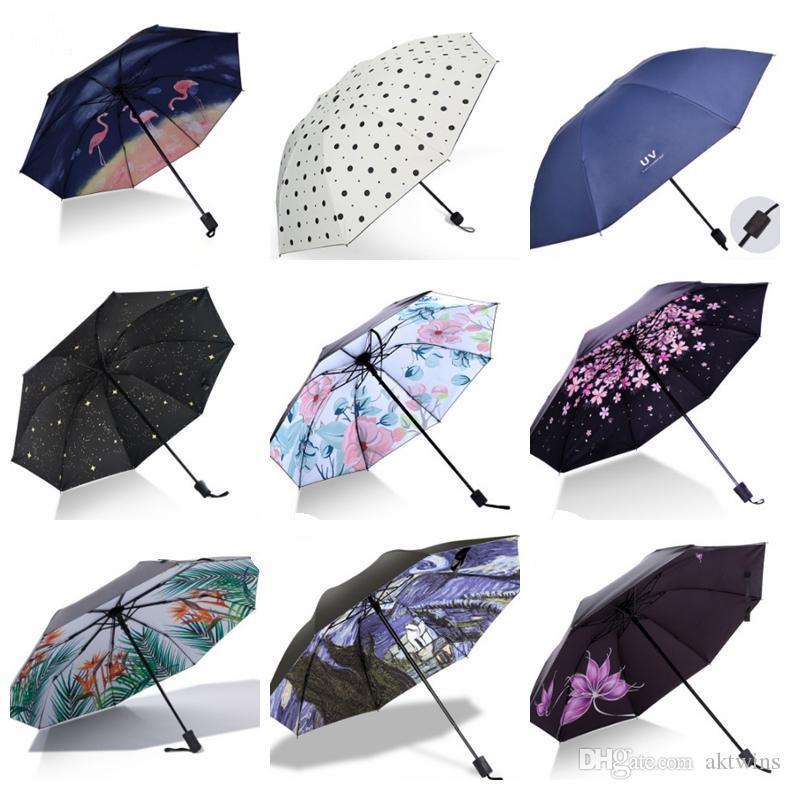 المظلات للطي المطر المرأة المظلة المضادة للأشعة فوق البنفسجية سيدة شمسية المحمولة السفر مظلات الشمس Rainny Unbrella 23 تصاميم بالجملة WZW-YW3846