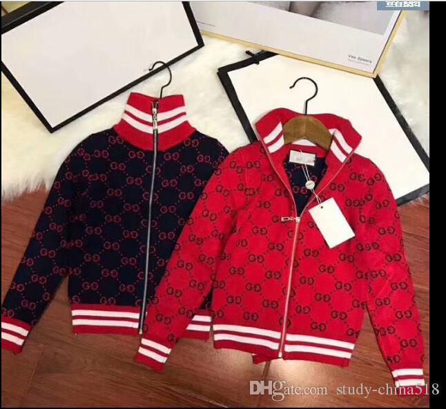 2019 niños suéter niños con cremallera logotipo de la marca suéter niñas chaqueta informal de lujo jacket90 ---- 150 CM envío gratis