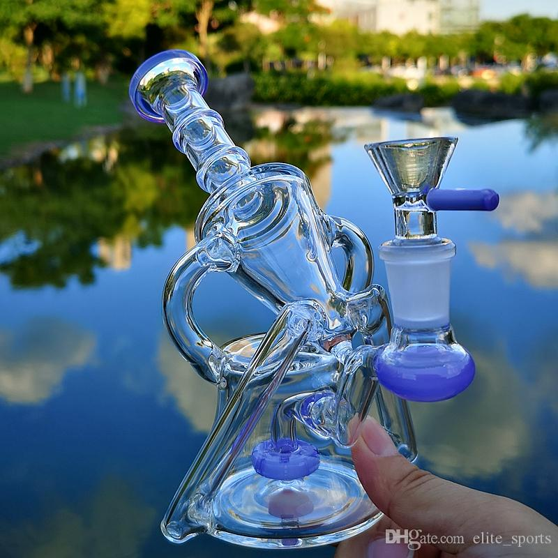 14mm 그릇 조각 유리 물 기억 만 함께 물 담뱃대 사이드카 휴지통을 살짝 조작의 7 인치 흡연 유리 봉 석유 굴착 물 파이프 샤워기 퍼크