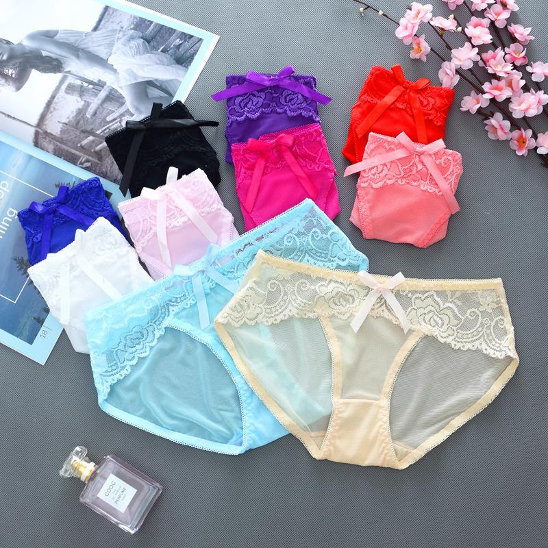 Bragas respirables de las mujeres sin costuras Marca Algodón Íntimos Íntimos Dama Sexy Encaje Transparente Panty de talle alto Braguitas de maternidad