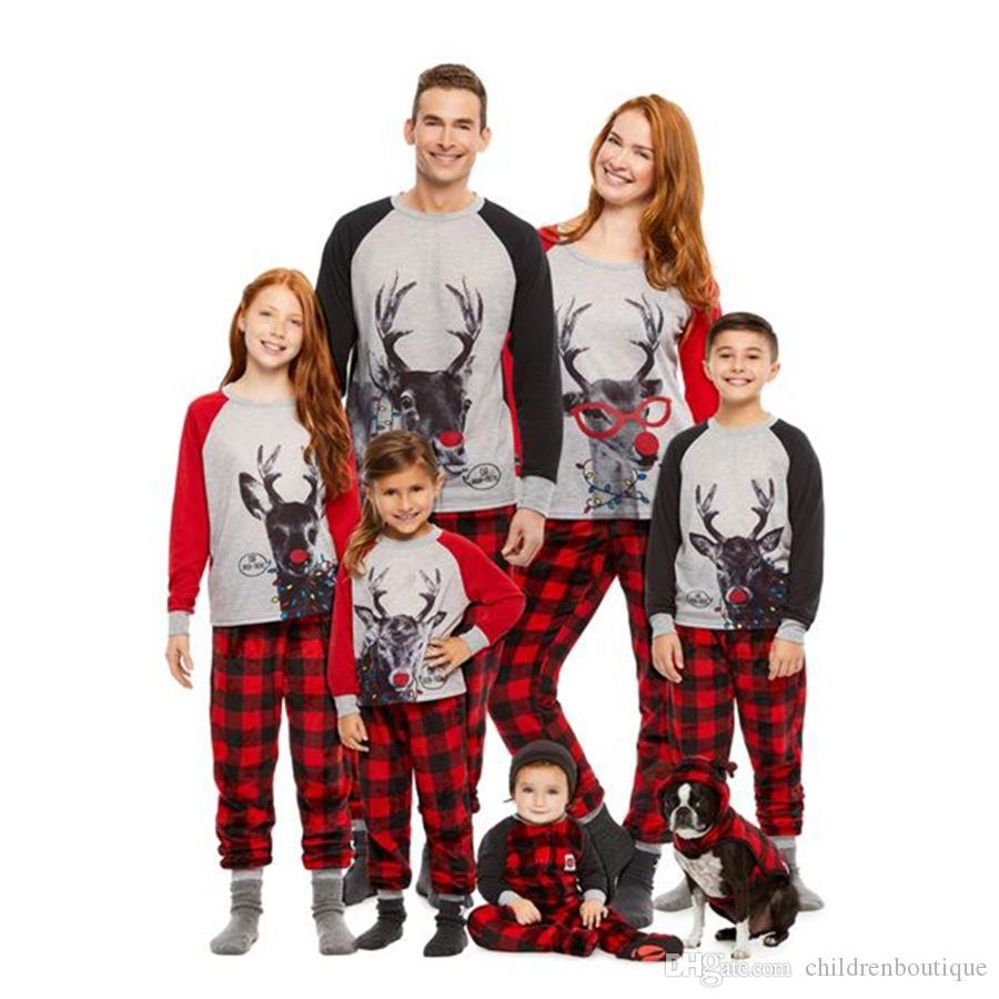 Family Christmas Pajamas New Family Matching Outfits Mother Father Kids Clothes Sets Cartoon Christmas Deer Printed Pajamas Sleepwear Nighty