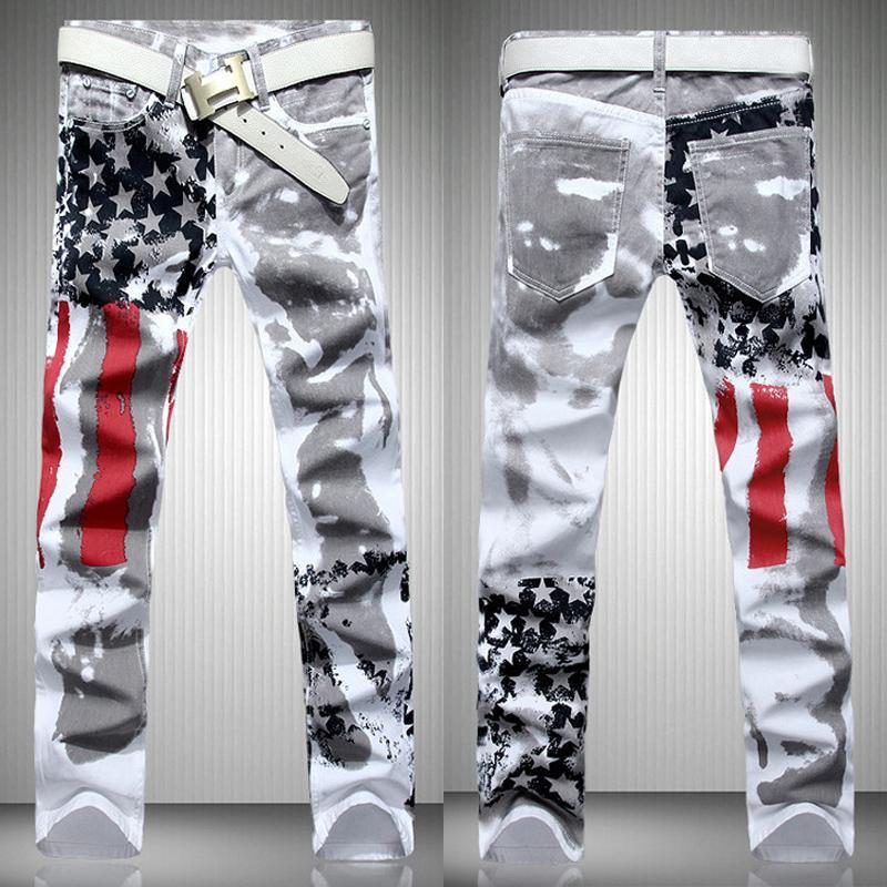Мода горячий дизайнер мужские джинсы мужчины известный бренд денима с крыльями американский флаг плюс размер
