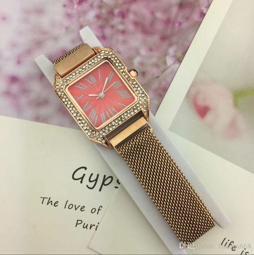 New Fashion Women Magnetization Luxury Watch Square Designer Quartz Movement Watches Stainless Steel Dial Couple Gift Lovers Wristwatches
