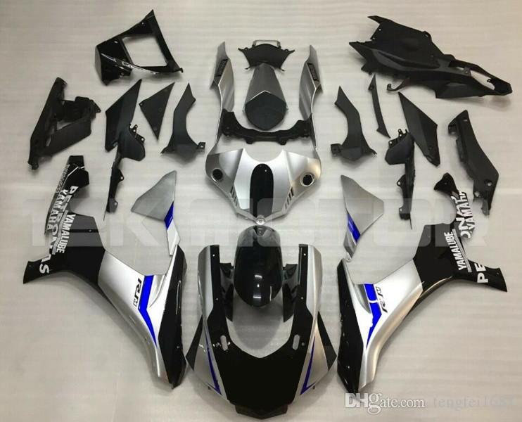 Moldeo por inyección Los nuevos kits del carenado de la motocicleta ABS aptos para YAMAHA YZF1000 2016 2017 2018 2015 2019 R1 carrocería conjunto personalizado Negro Gris