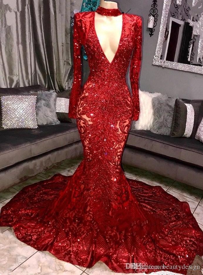 Kraliyet Mavi 2019 Muhteşem Bling Sequins Gelinlik Modelleri Kırmızı Mermaid Uzun Kollu Abiye Kadınlar Seksi Parti Törenlerinde BC0842