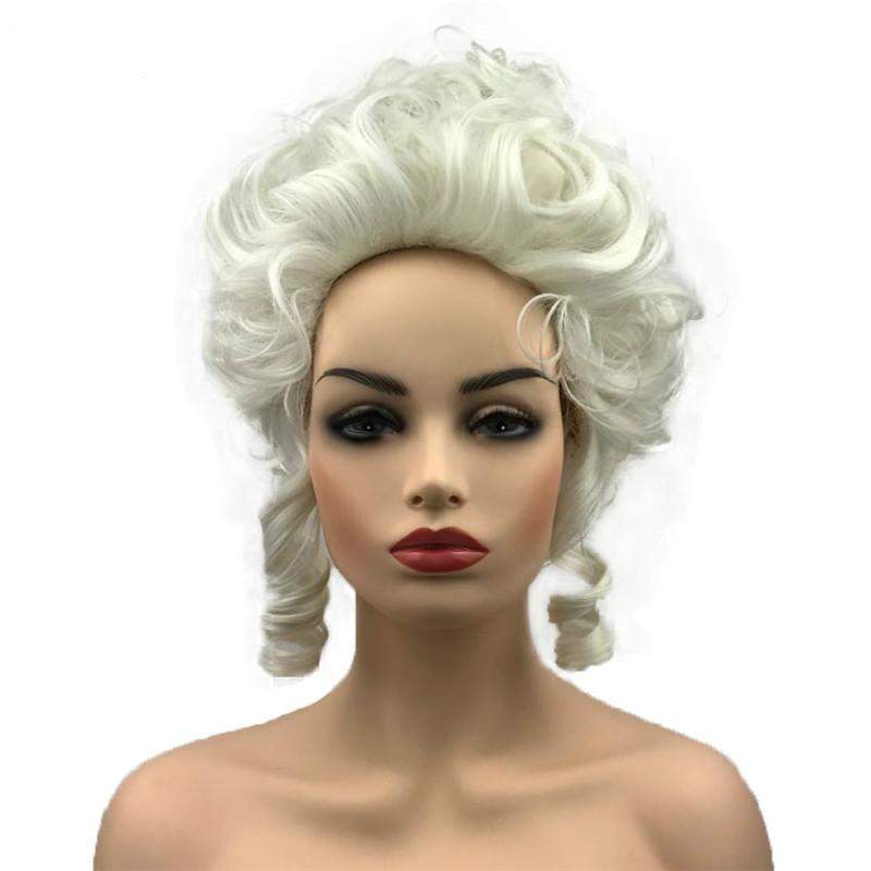 Marie Antoinette Wig Femmes White Synthetic Fibre Synthetic Cosplay Perruques pour une fête d'Halloween