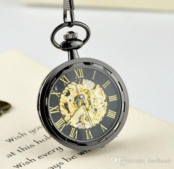 Golden mechanical pocket watch Korean trend gold-plated transparent hollow luxury watch Personality without cover for men and women