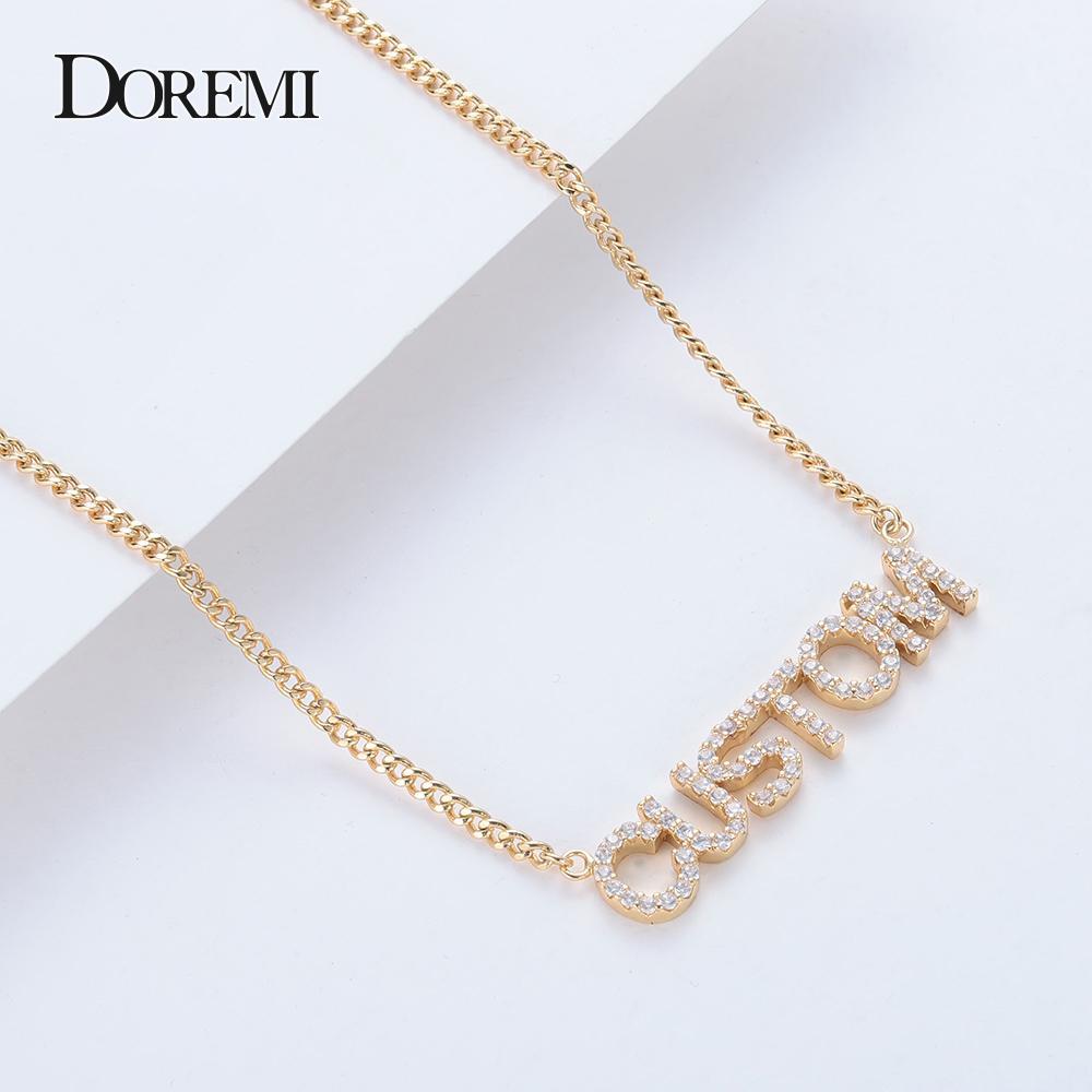 DOREMI cristallo collana pendente lettere per i gioielli Donna-Numbers con nome a collane personalizzata Zirconia Pendant