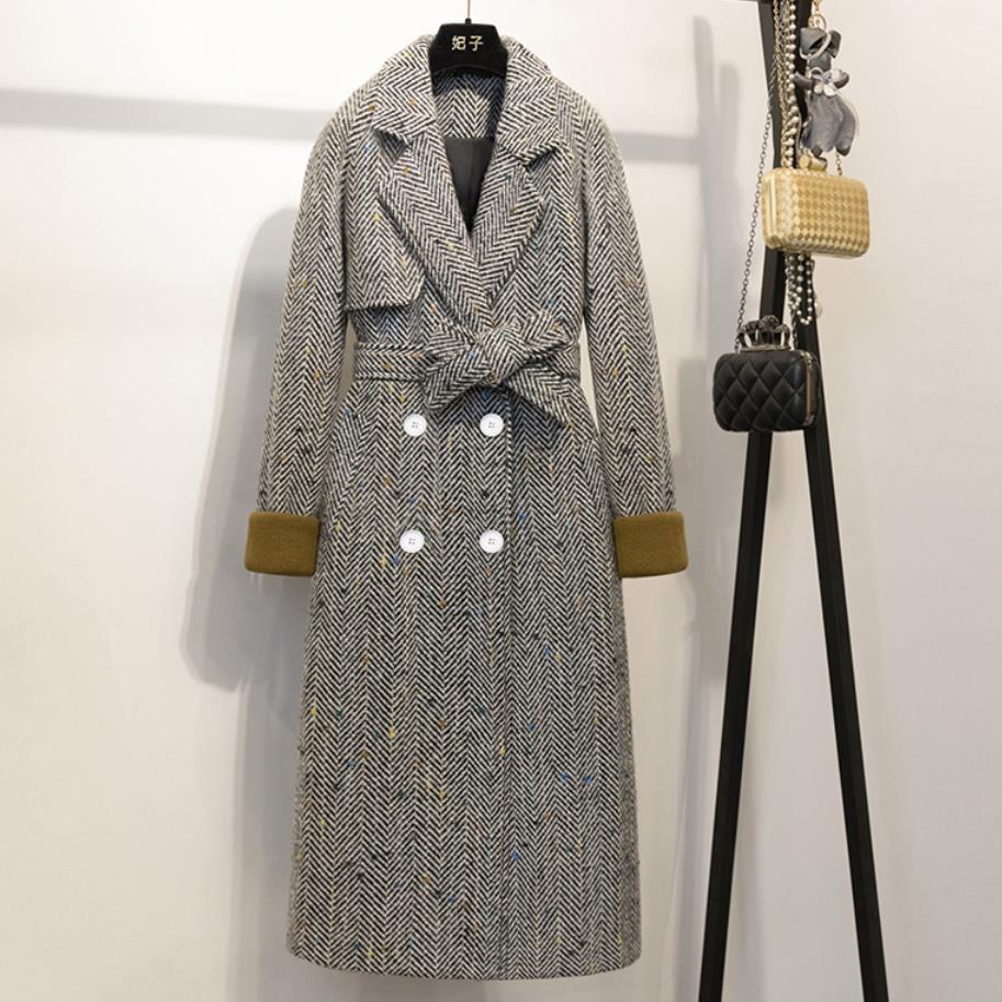 Großhandel Winter Frauen Mantel Grau Gestreiften Zweireiher Langarm Wollmäntel Damen Elegante Graben Wollmäntel Oberbekleidung Von Vikey18, $102.54