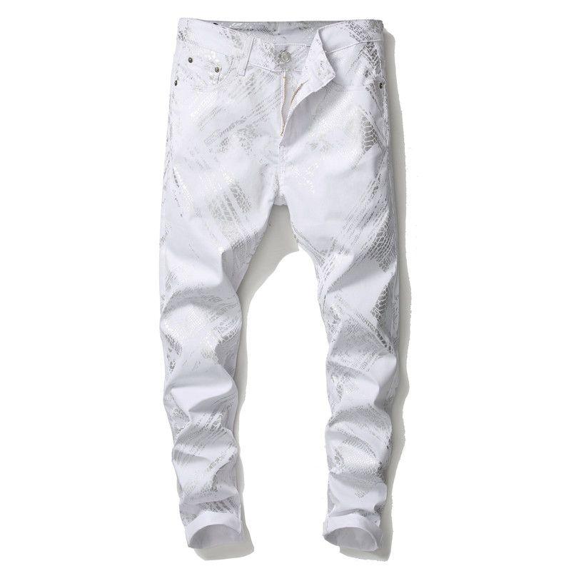 أحدث رجل 3d الرقمية المطبوعة الجينز الأبيض مصمم الأزياء مستقيم الساق يتأهل الدنيم السراويل السراويل الهيب هوب رخيصة كبيرة الحجم 5639