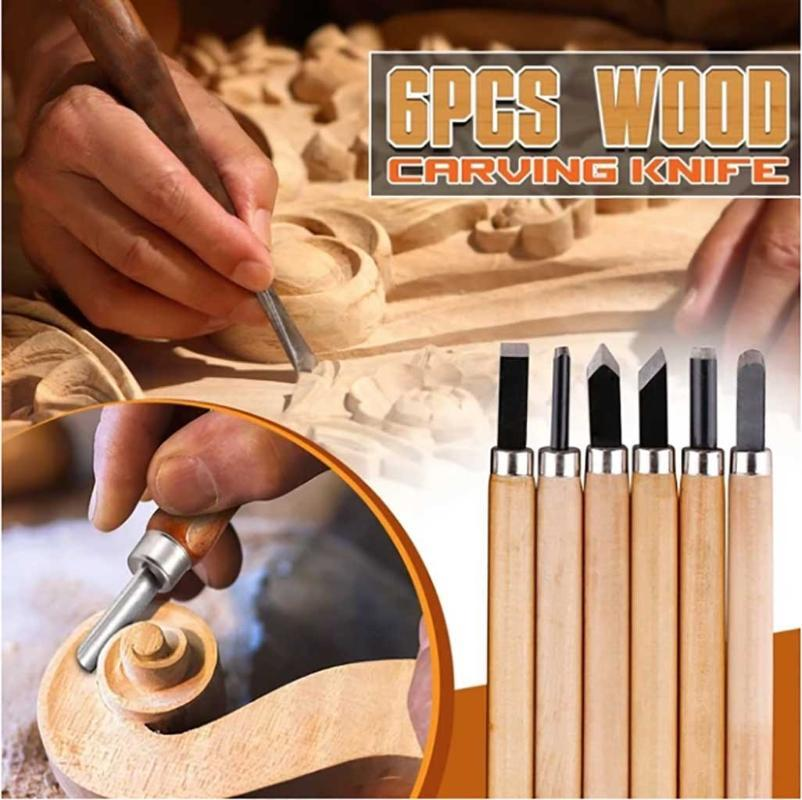 6pcs Professional Wood Carving Chisel Tools Set Woodwork Sharpening Carpenter Knife Chisel For Basic Wood Cut Diy Woodworking