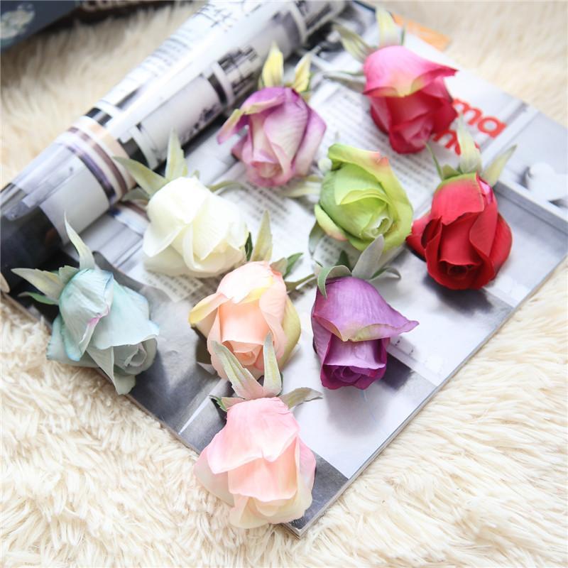 9 Couleurs Artificielle Rose Soie Fleur Heads Avec Bourgeon Décor Simulation Mariée Bouquet Pour La Fête De Mariage Banquet Décoratif Faux Fleurs