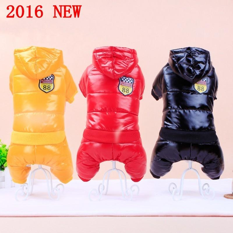 Highlight PU Pet Dog Clothes Winter Down Jacket For Dogs Costume Pets Clothing Padded Hoodie Jumpsuit Pants Coat Apparel XS-XXL Y200328