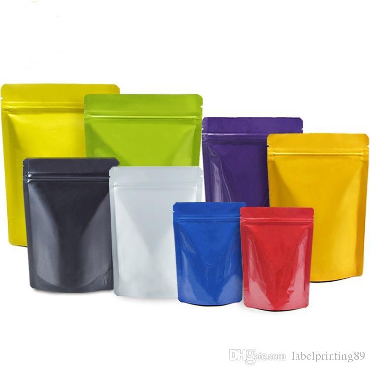 100pcs colorato in alluminio richiudibile supporto colorato mylar zip lock bag a prova di umidità cibo secco e frutta custodia biscotti doypack