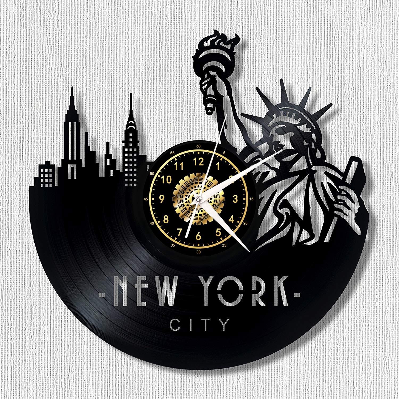 Paysages urbains Disque Vinyle Horloge Murale Maison De Mode Rétro Décor À La Main Art personnalité cadeau (Taille: 12 pouces, Couleur: Noir)
