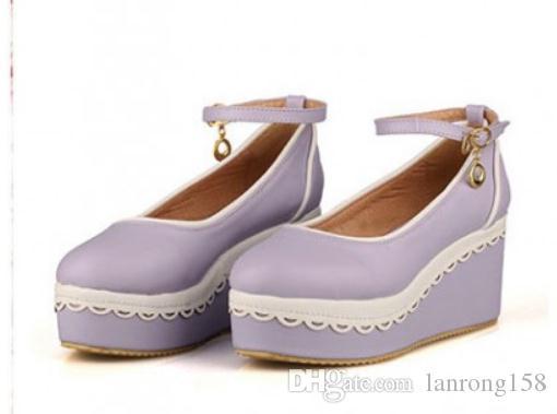 2019 Zapatos de mujer en primavera y otoño con nuevo estilo Talón inclinado Parte inferior gruesa Cabeza redonda Boca poco profunda