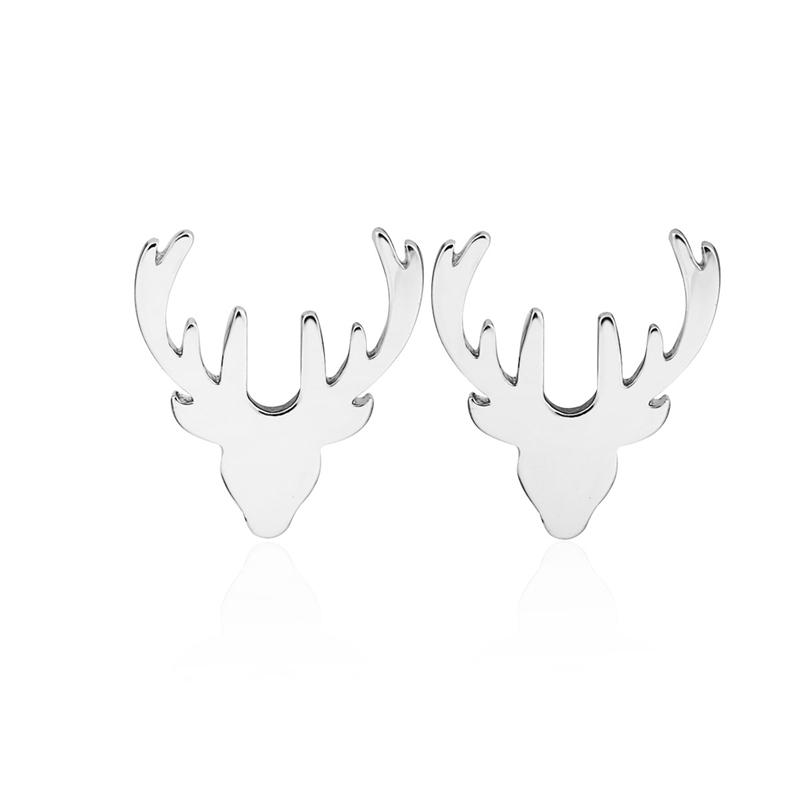 Simple Dainty Minimal Cute Lucky Animal Reindeer Horn Antler Studs Earrings for Women Teen Girls
