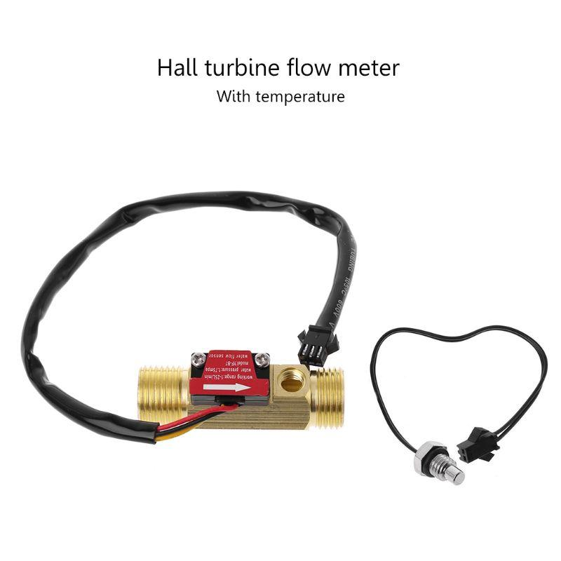 "G1/2"" Brass Hall Flow Rate Meter NTC Temperature Measurement Water Flow Sensor Meter"