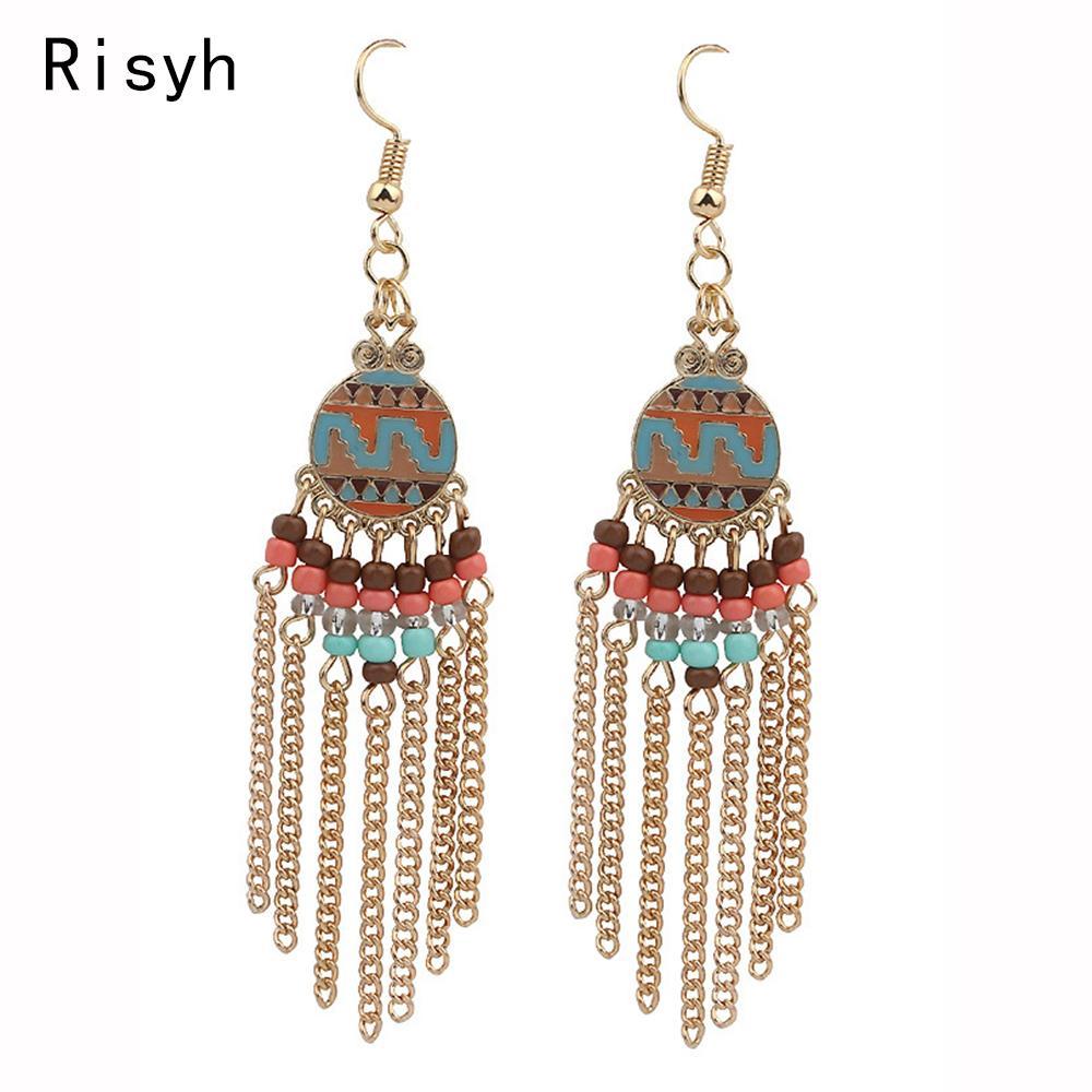 Risyh 2019 nueva moda goteo borla tendencia señoras pendientes para regalos de las mujeres
