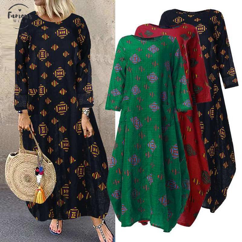 Zanzea Plus Size Women Long Maxi Dress Bohemian Vestidos Printed Sundars Long Sleep Pockets Womens Swear Tunic Dress 7