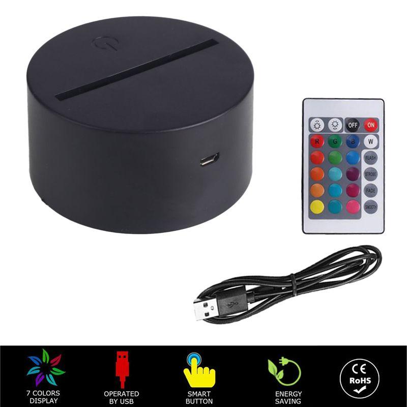 RGB의 USB 케이블 터치 램프 LED 램프 자료 3D 나이트 라이트 아크릴 판 패널 홀더 원격 USB 케이블