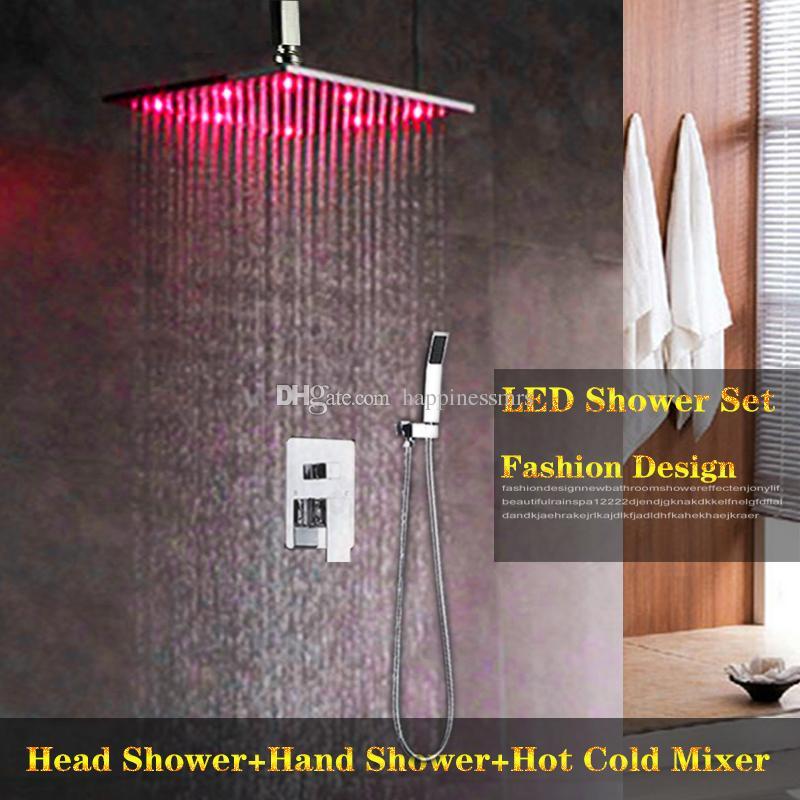 수력 온도 제어 색상 변경 주도 샤워 세트 고품질 황동 비 홈 욕실 은폐 천장 머리와 손 샤워 세트