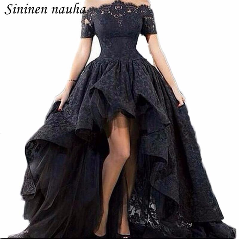 Kollu Kapalı Omuz Siyah Plus Size vestidos de Festa 287 ile Gençler Dantel Yüksek Düşük Abiye Uzun Elbise Parti