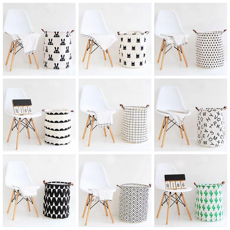 INS Nordic Folding Laundry Basket Dirty Clothes Storage Basket Kids Toys Organizer Barrel Large Capacity Household Sundry Hamper CY200522