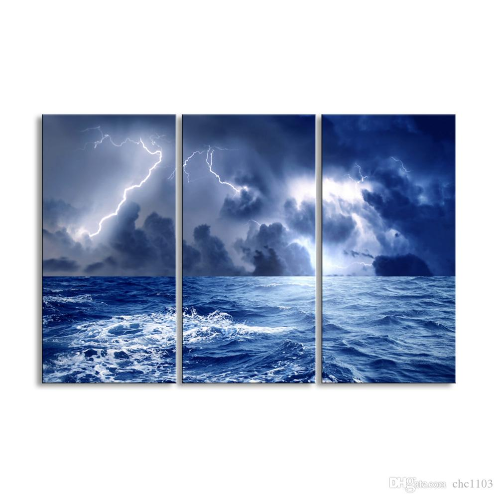 3 pieces of HD print submarine surface canvas painting poster and wall art living room picture HDBM3-1B