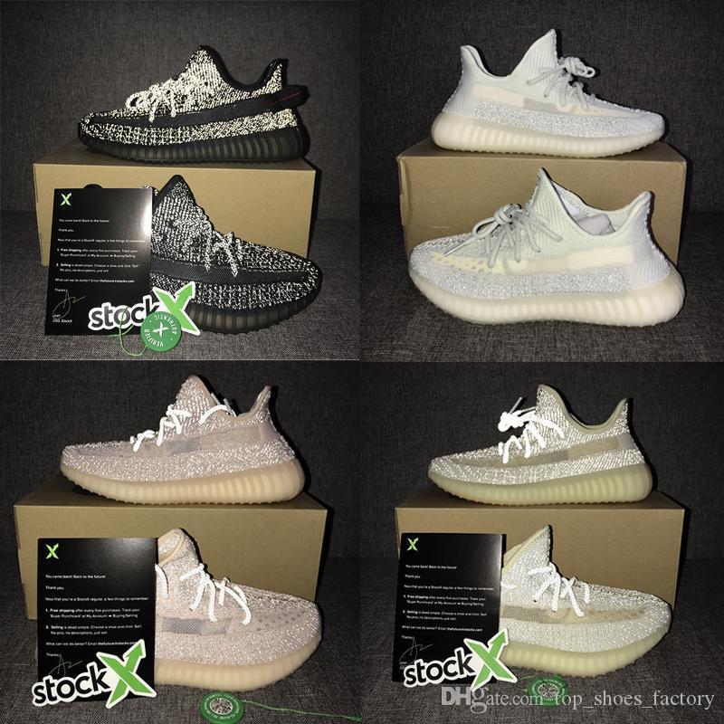 Lundmark Yansıtıcı Kanye West Lüks Ayakkabı Gid Yeşil Erkekler Kadınlar Tasarımcılar Günlük Ayakkabılar V2 Bulut Beyazı Siyah Statik Tam Yansıtıcı Sneaker
