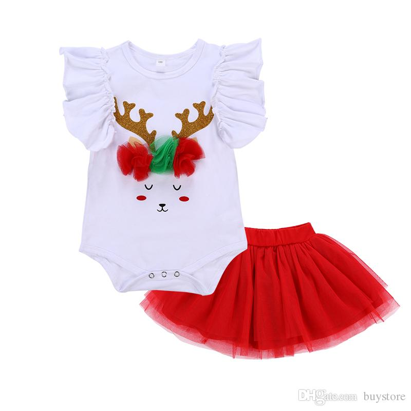 Christmas Baby Girl Clothes Set Summer Cartoon Romper+Red lace Skirt 2pcs Infant Girls Clothing Sets Kids Outfits