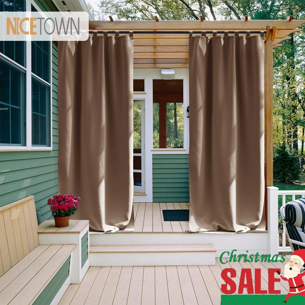 NICETOWN impermeável ao ar livre Curtain Tab Top térmica Duplas Blackout cortina cortina para Patio Garden Front Porch Gazebo CJ191217