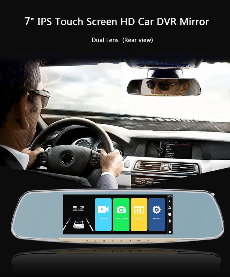 "Full HD 7 ""Touchscreen Rückseite Spiegel Recorder Dashcam Dual Objektiv Fahrzeug Nachtsicht G-Sensor Auto DVR CAM"