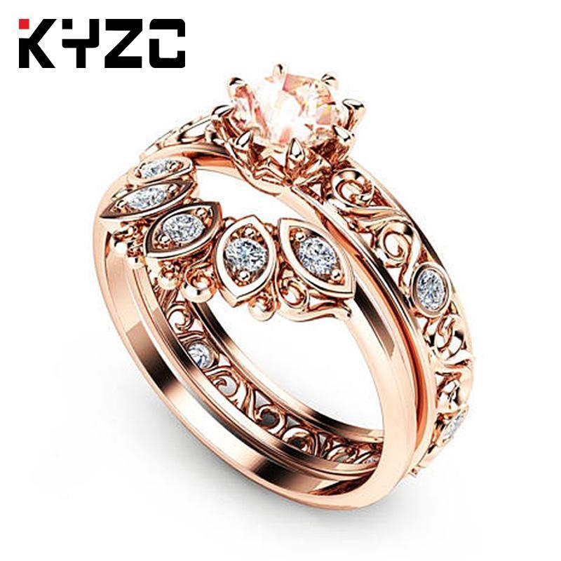 Moda-Nueva Europea y el anillo estadounidense propuesta hueco patrón de micro-incrustaciones par anillo de diamantes de lujo como el matrimonio de circón