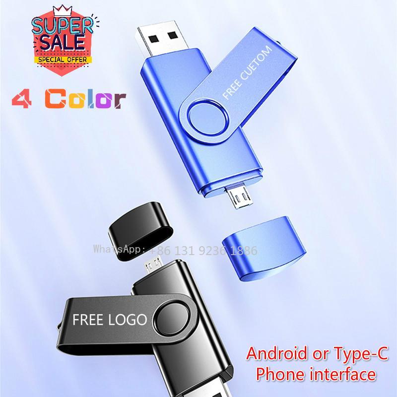 OTG USB فلاش 16GB 64GB TYPE-C محرك فلاش USB 128GB ذاكرة 32GB بندريف الصغيرة واجهة القرص U 4GB للكمبيوتر وموبايل