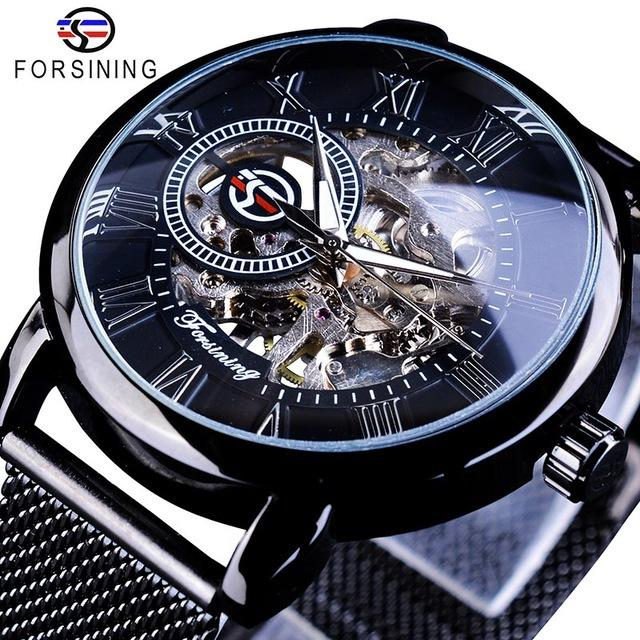 FORSINING hombre Relojes superior de la marca de lujo del reloj mecánico para hombres dial esquelético ultra delgada de la correa de malla de los números romanos del reloj de SLZe105