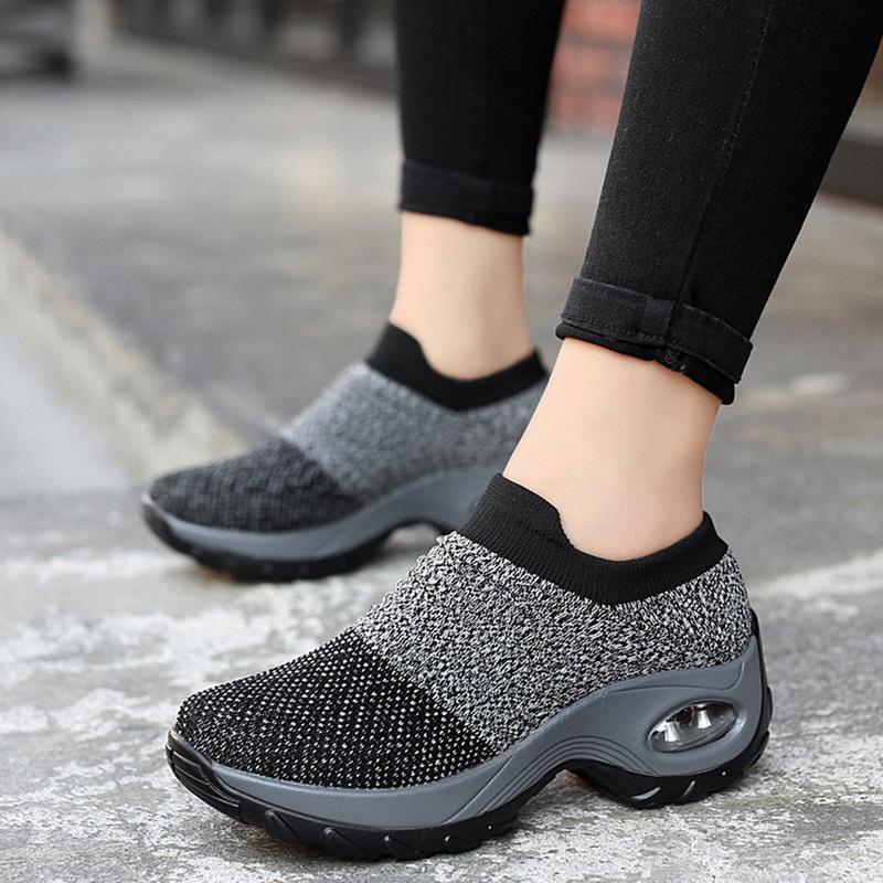 Chaussures Femme tricoter Sock Chaussures de sport plus Size42 Mode Femmes vulcaniser Chaussures Femme Air Mesh Sneakers Casual Flat Tenis Feminino