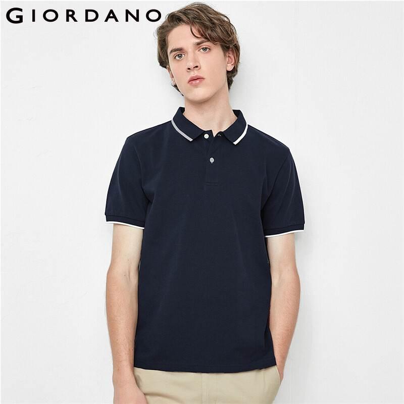 Giordano Homens elástico Pique Contraste Shirts respirável malha Estrutura manga curta Camiseta masculina 01010381