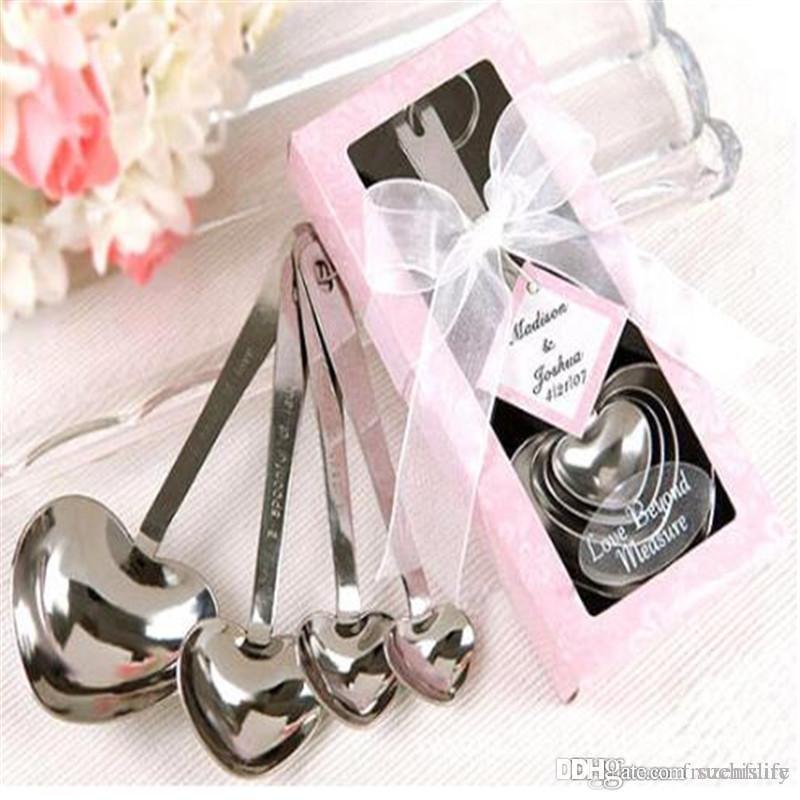 Livraison gratuite 20set / lot Prix le plus bas Fedex amour Beyond Measure coeur cuillères à mesurer en boîte-cadeau rose Faveurs de mariage
