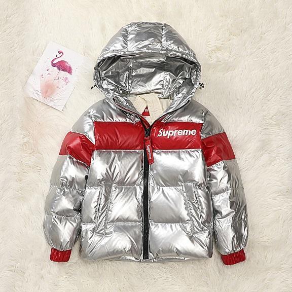 어린이 다운 파카 소녀 소년 패션 브랜드 대비 색 코트 겨울 다운 파카 키즈 남녀 공용 브랜드 다운 코트