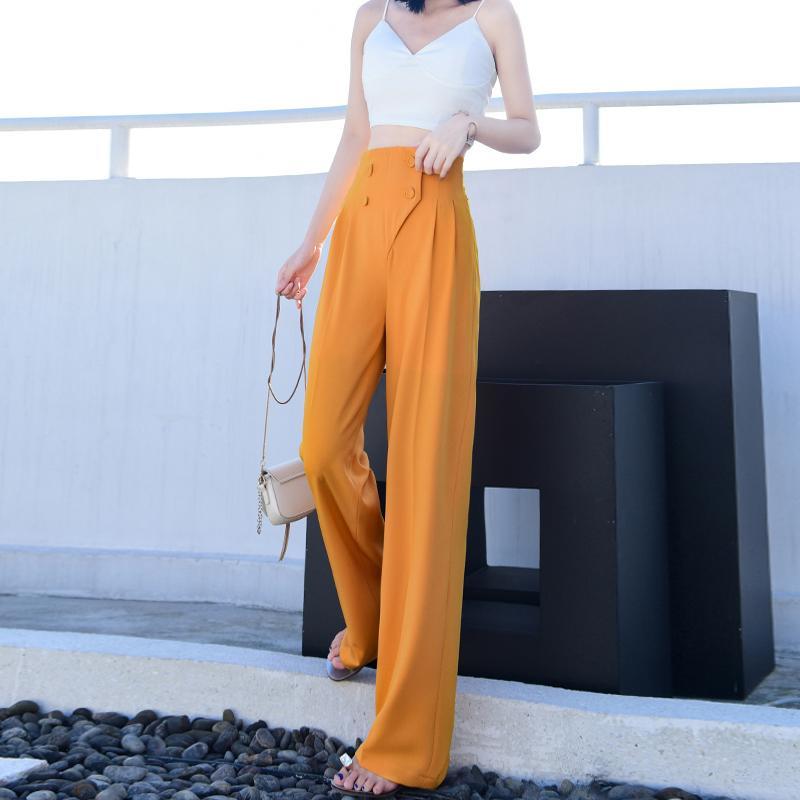 Высокий талии вскользь сплошной цвет костюма брюки Управление леди Сыпучие Широкие ноги Брюки прямые кнопки Костюм брюки с карманами