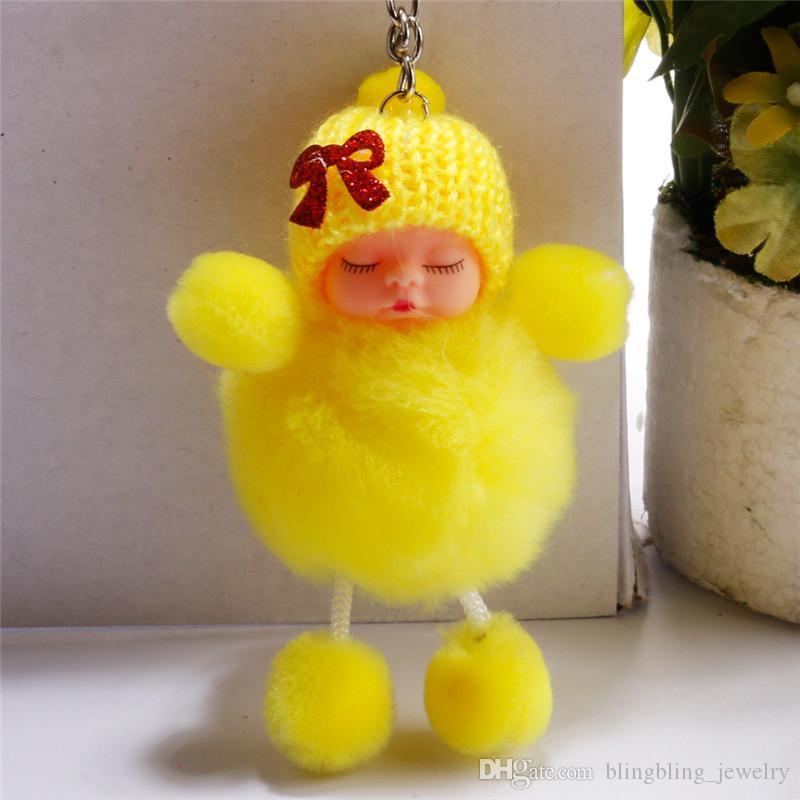 Мода Брелок Спящая Кукла Мяч Брелок Автомобильный Брелок Держатель Сумка Кулон Шарм Брелок Плюшевые Меха Новые Милые Женщины Брелок Игрушки