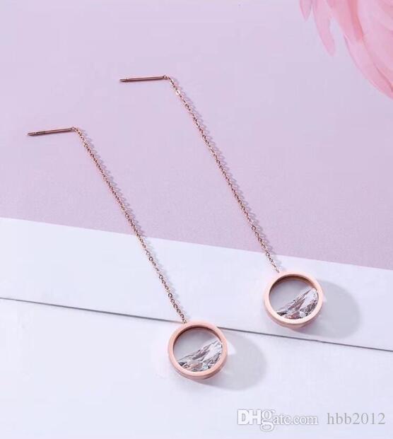 Pendientes redondos de boda de moda las joyas de cristal pendientes largos Declaración pendiente de las mujeres cuelga los pendientes la flor del hueco